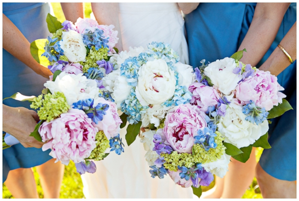 pink purple and blue wedding flowers
