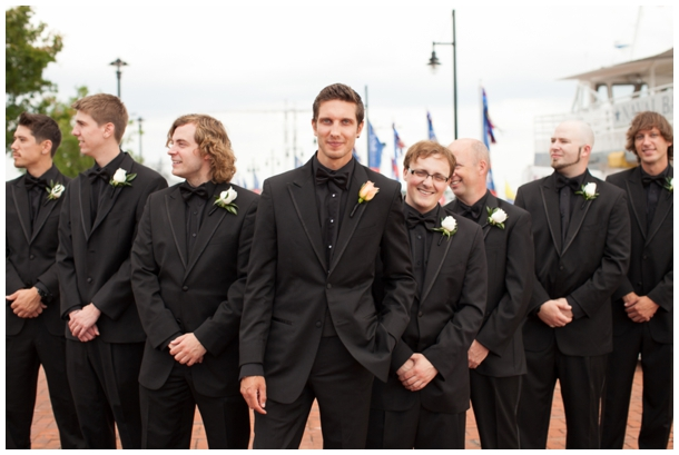 groom and groomsmen all black