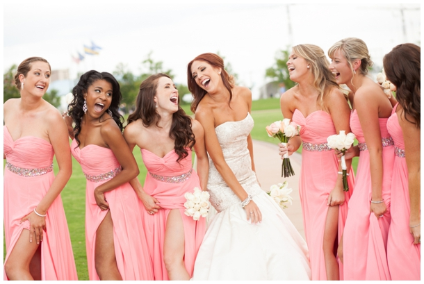 bride bridesmaids laughing