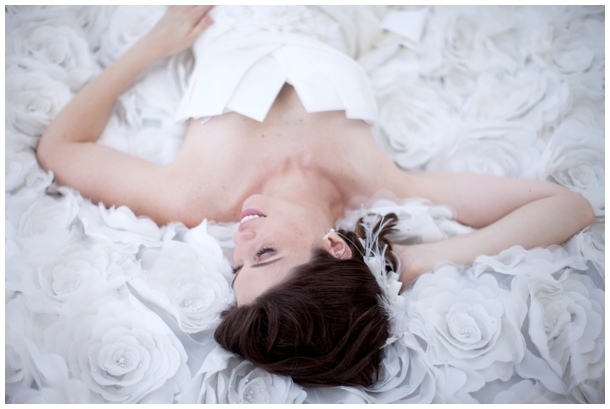 bride laying in dress